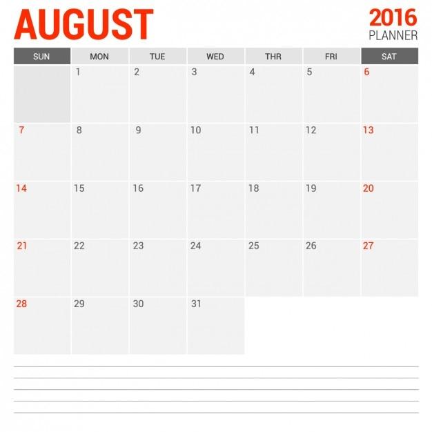 Calendario mensual agosto 2016 Vector Gratis