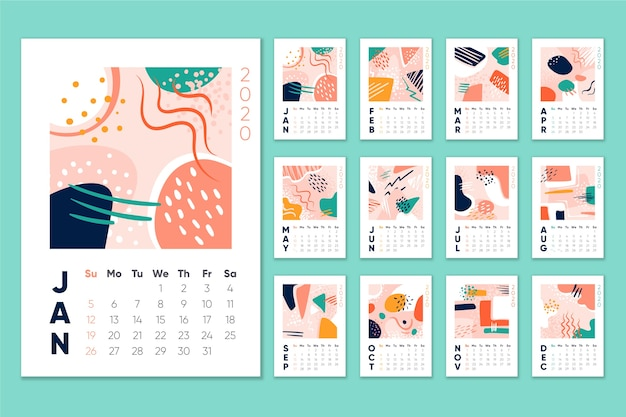 Calendario mensual calendario 2020 Vector Premium