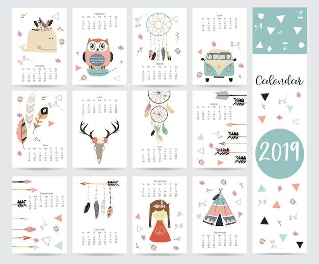 Calendario mensual chic Vector Premium