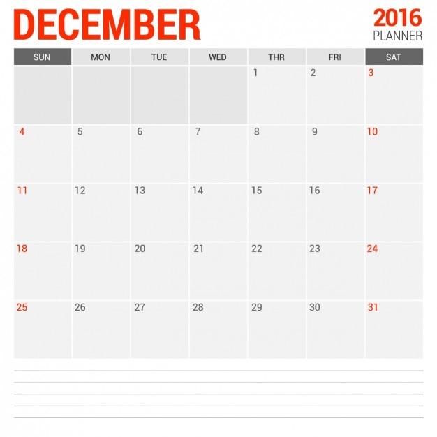 Calendario mensual de diciembre 2016 Vector Gratis