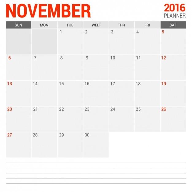Calendario mensual de noviembre 2016 Vector Gratis