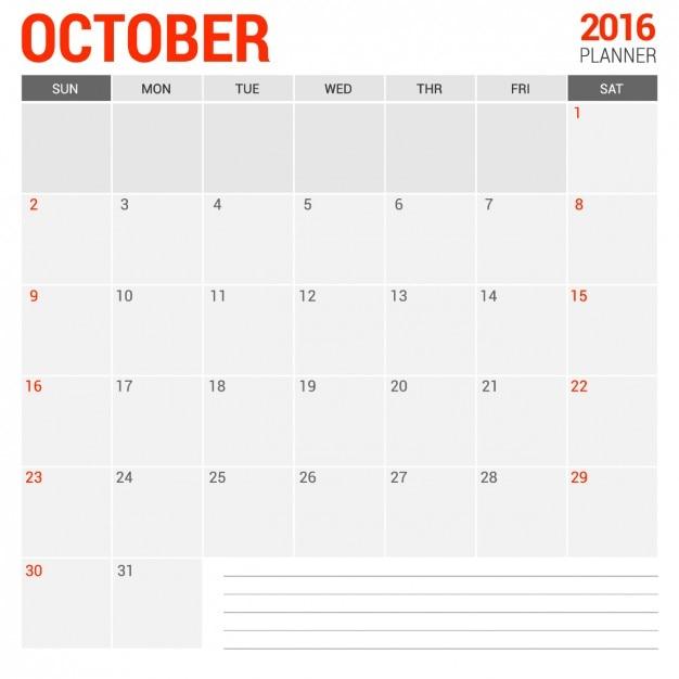 Calendario mensual de octubre 2016 Vector Gratis