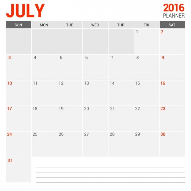 Calendario mensual julio 2016 Vector Gratis