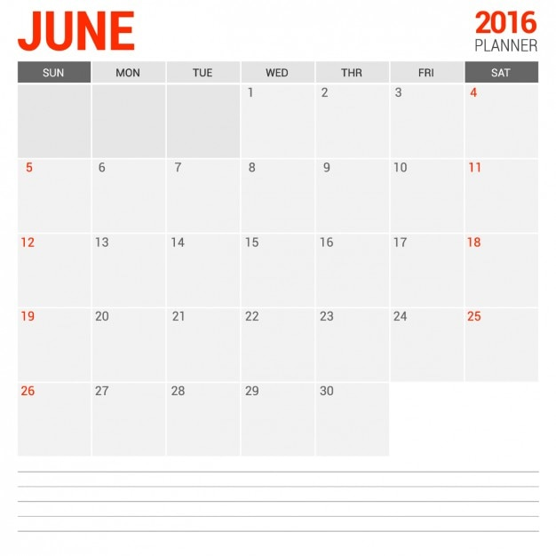 Calendario mensual junio 2016 Vector Gratis