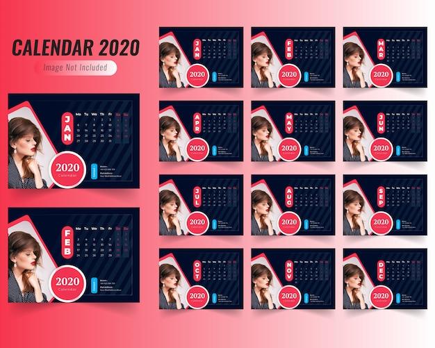 Calendario Moda 2020.Calendario De Moda 2020 Plantilla Descargar Vectores Premium