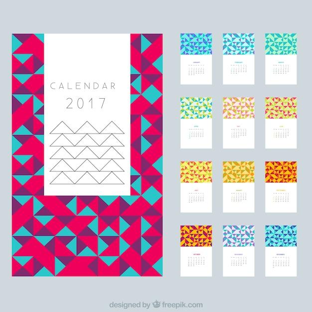 Calendario moderno de 2017 en dise o poligonal descargar - Disenos de calendarios ...