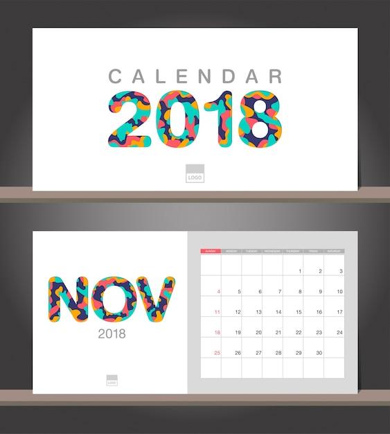 Calendario De Noviembre De 2018 Plantilla De Dise O Moderno De