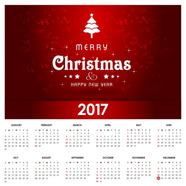 calendario para navidad rojo con un rbol blanco vector gratis