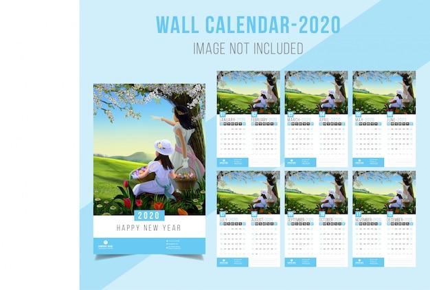 Calendario de pared 2020 Vector Premium
