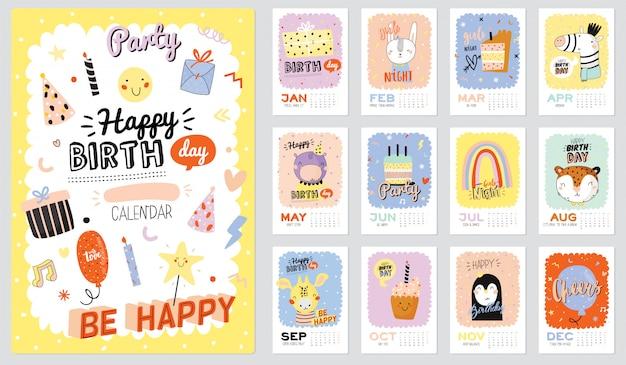 Calendario de pared de feliz cumpleaños. el planificador anual tiene todos los meses. buen organizador y horario. ilustraciones de fiesta de moda, letras con citas de inspiración navideña. antecedentes Vector Premium