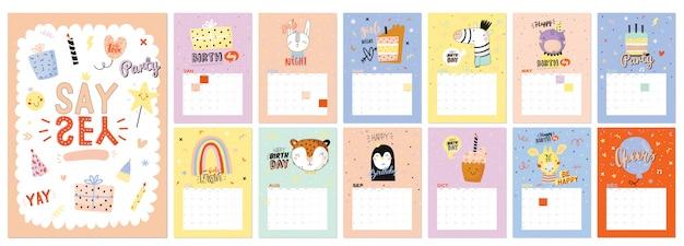 Calendario de pared de feliz cumpleaños. el planificador anual tiene todos los meses. buen organizador y horario. ilustraciones de fiesta de moda, letras con citas de inspiración navideña. Vector Premium