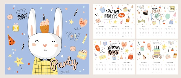 Calendario de pared de feliz cumpleaños. el planificador anual tiene todos los meses. buen organizador y horario. Vector Premium