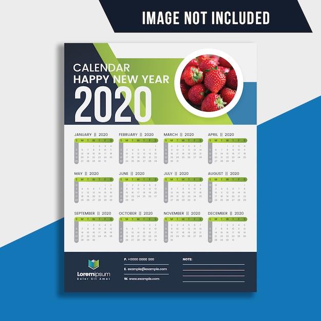 Calendario de pared de una página 2020 Vector Premium