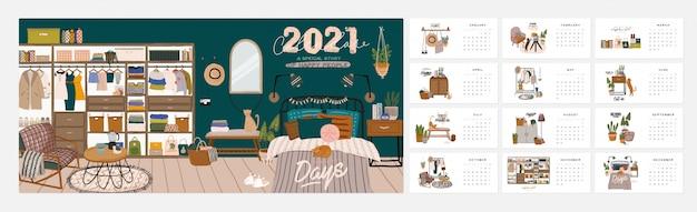 Calendario de pared. planificador anual 2021 con todos los meses. buen organizador escolar y horario. lindo fondo interior de la casa. Vector Premium