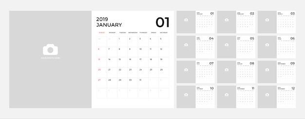Calendario para la plantilla 2019. Vector Premium