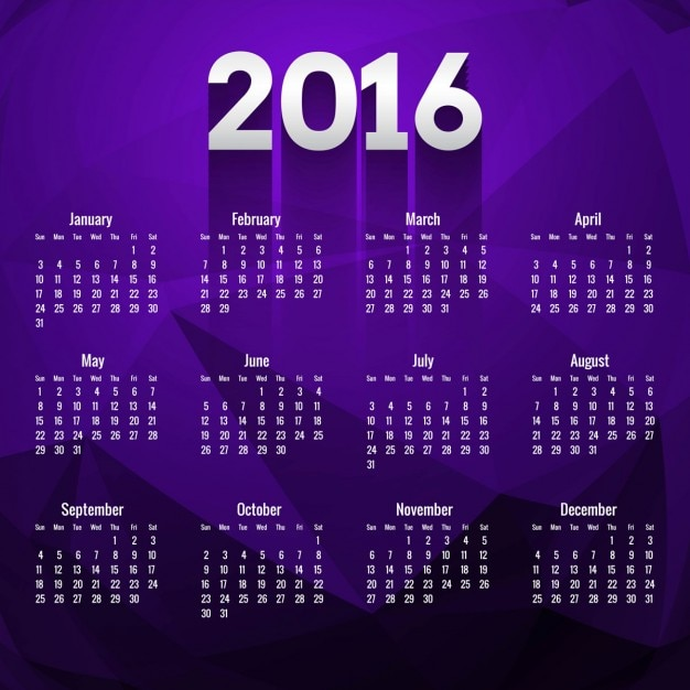 Calendario poligonal de 2016 en color morado   Descargar Vectores gratis