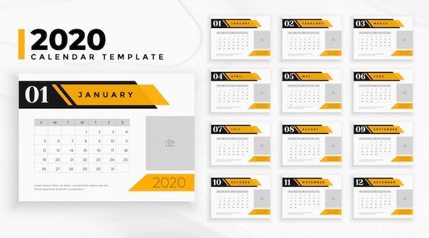 Calendario profesional de negocios 2020 en estilo geométrico vector gratuito
