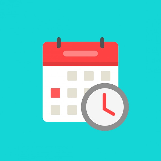 Calendario con reloj como símbolo de icono de evento programado esperando dibujos animados plano aislado Vector Premium