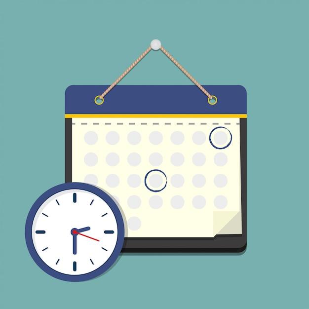 Calendario con reloj en estilo plano. | Vector Premium