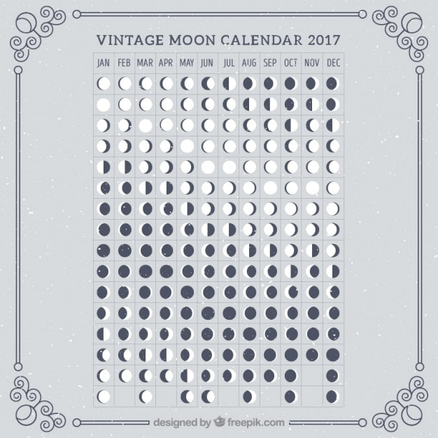 Calendario retro lunar de 2017 descargar vectores gratis Calendario 2017 con lunas