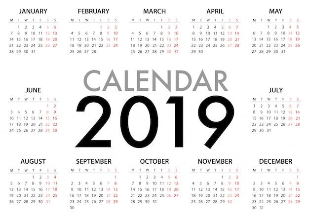 Calendario para la semana 2019 comienza el lunes Vector Premium