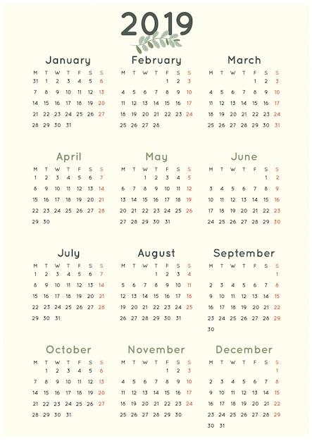 1bef022211212 Calendario simple minimalista 2019 con hoja verde