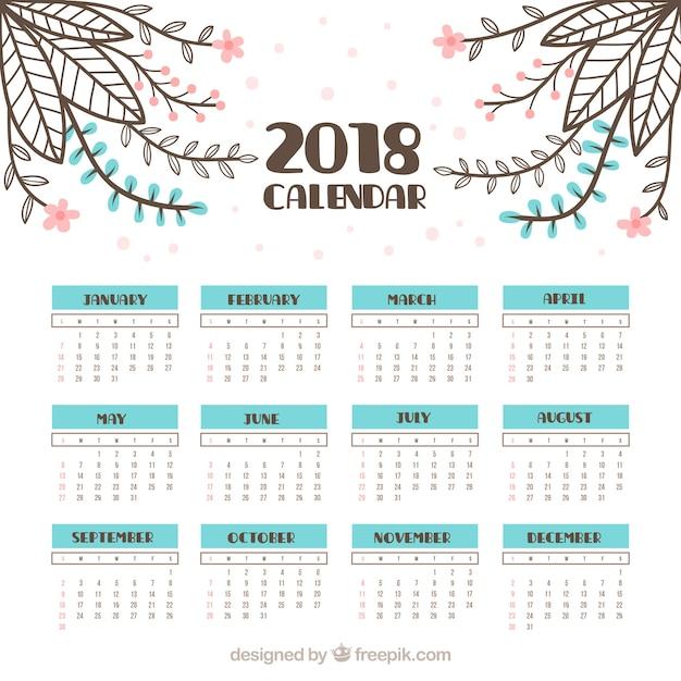 February 2018 Calendar Vintage : Calendario vintage con flores dibujadas a mano