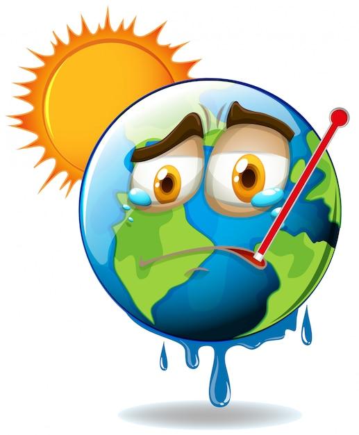 Calentamiento global con tierra derritiéndose vector gratuito