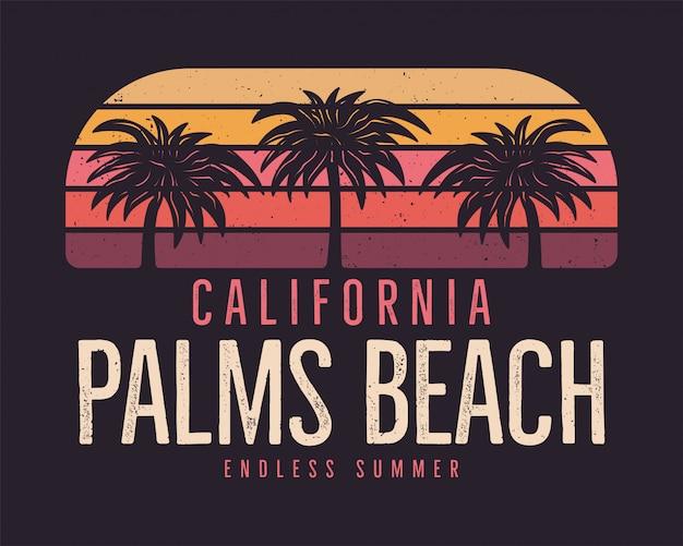 California palms beach, fondo de surf de verano Vector Premium