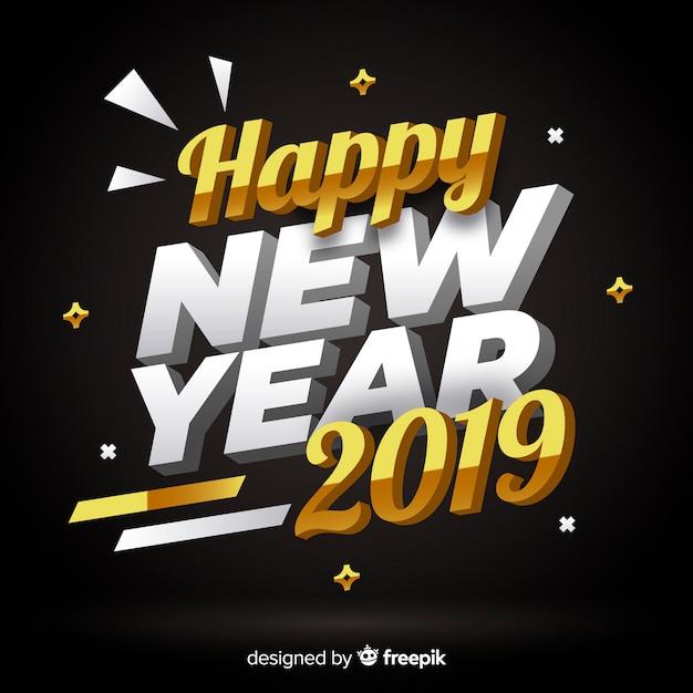 Caligrafía año nuevo 2019 en 3d vector gratuito