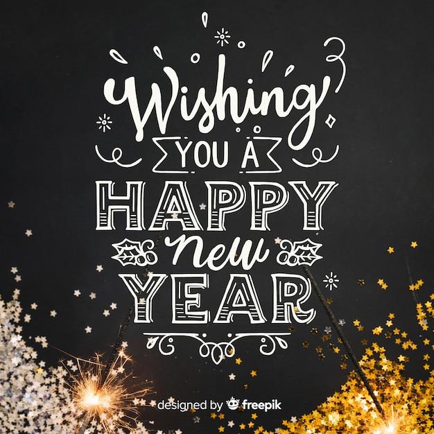 Caligrafía de año nuevo 2019 vector gratuito