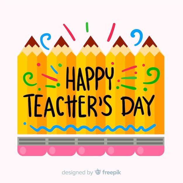 Caligrafía del día mundial del profesorado con lápices vector gratuito