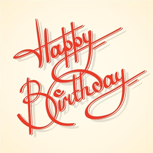 Caligrafía feliz cumpleaños adornado lettering postal plantilla ilustración vectorial Vector Gratis