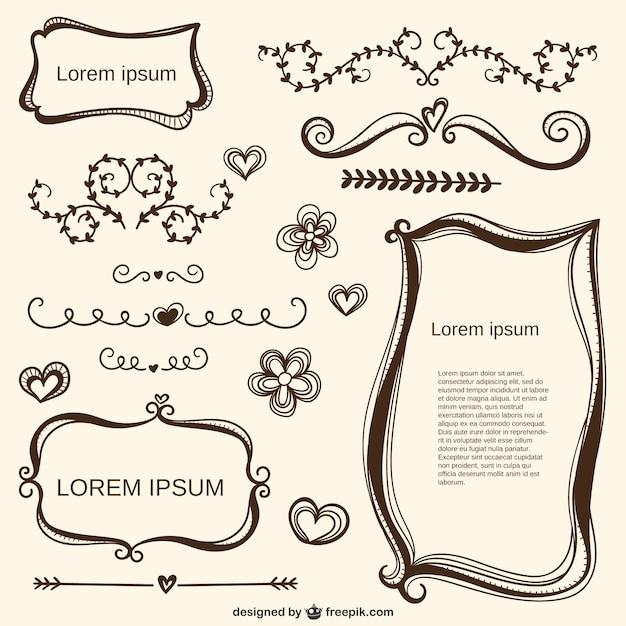 Caligráficos adornos amor y marcos | Descargar Vectores gratis