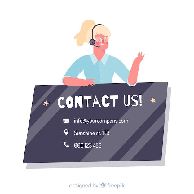 Call center plano contáctenos concepto vector gratuito