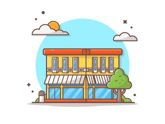 Calle cafe edificio vector icono ilustración Vector Premium