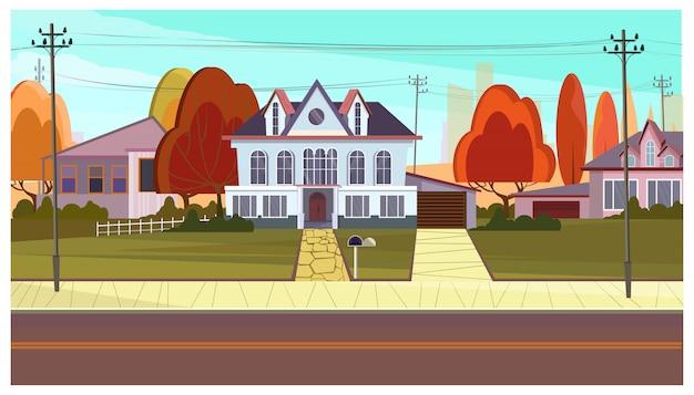 Calle con casas rurales y arboles otoñales. vector gratuito