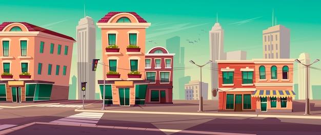 Calle de la ciudad con casas y camino vector gratuito