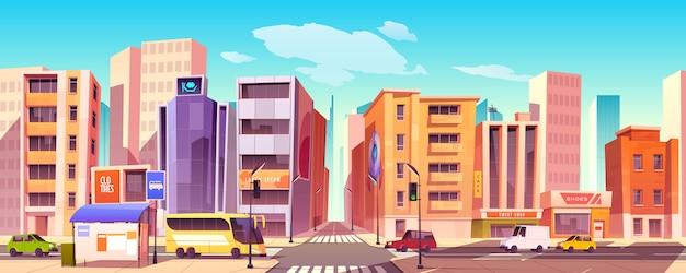 Calle de la ciudad con casas, carreteras y automóviles. vector gratuito
