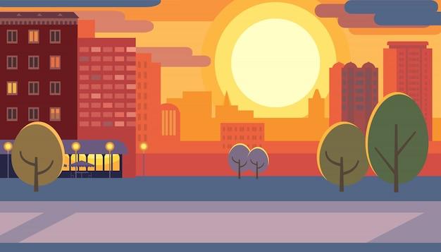 Calle de la ciudad durante la puesta del sol plana ilustración vectorial Vector Premium