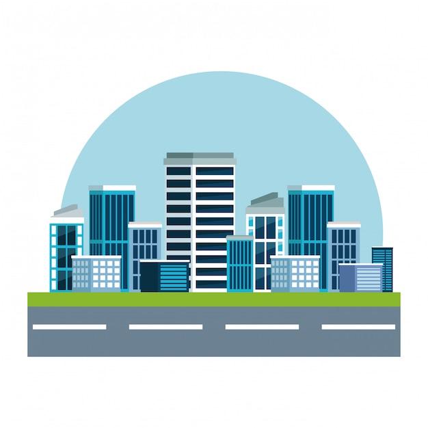 Calle con paisaje urbano y rascacielos. vector gratuito