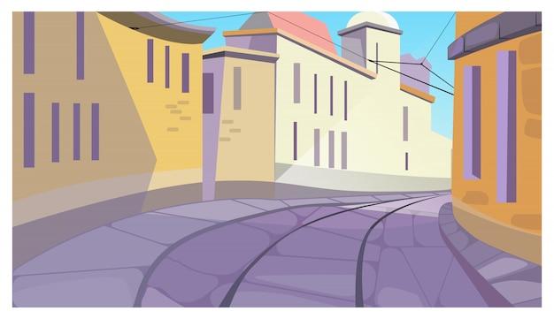 Calma calle de la ciudad entre edificios ilustración vector gratuito