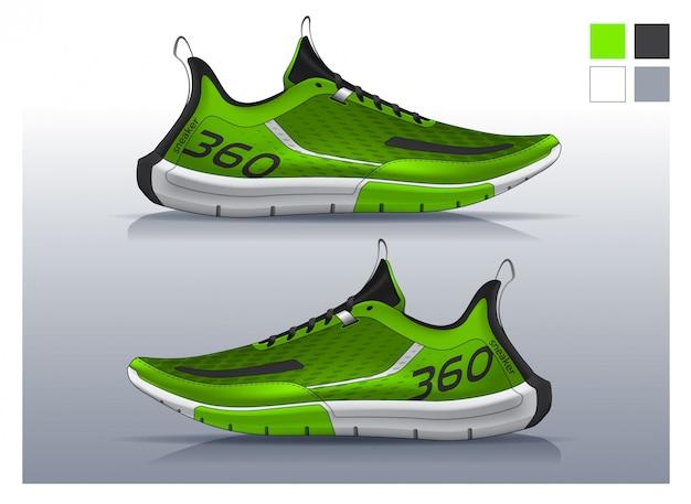 Calzado para correr, diseño de zapatillas. | Vector Premium