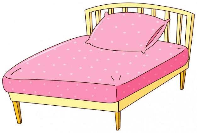 Cama con sábana rosa y almohada vector gratuito