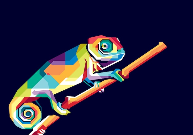 Camaleón colorido Vector Premium