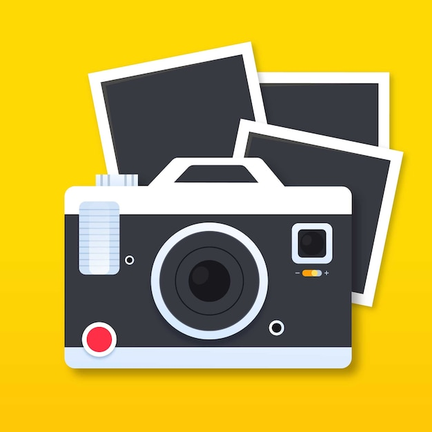 Cámara polaroid y fotografías vector gratuito