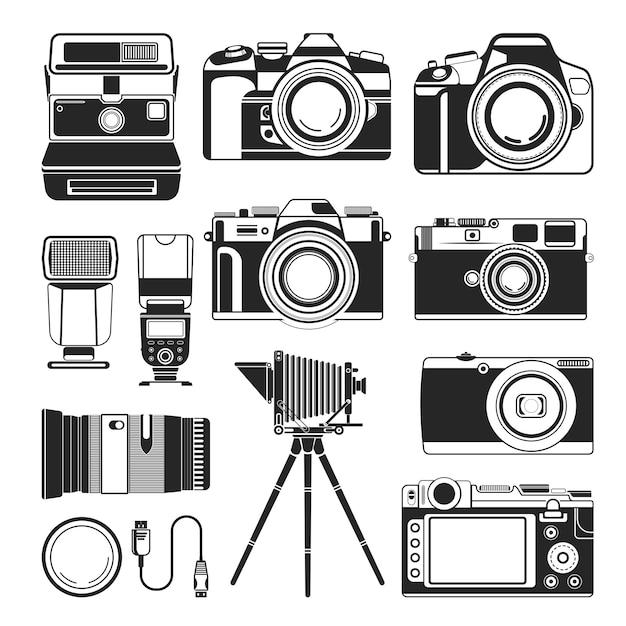 Cámara retro y vector de equipo de fotografía antiguo o moderno, iconos de silueta Vector Premium
