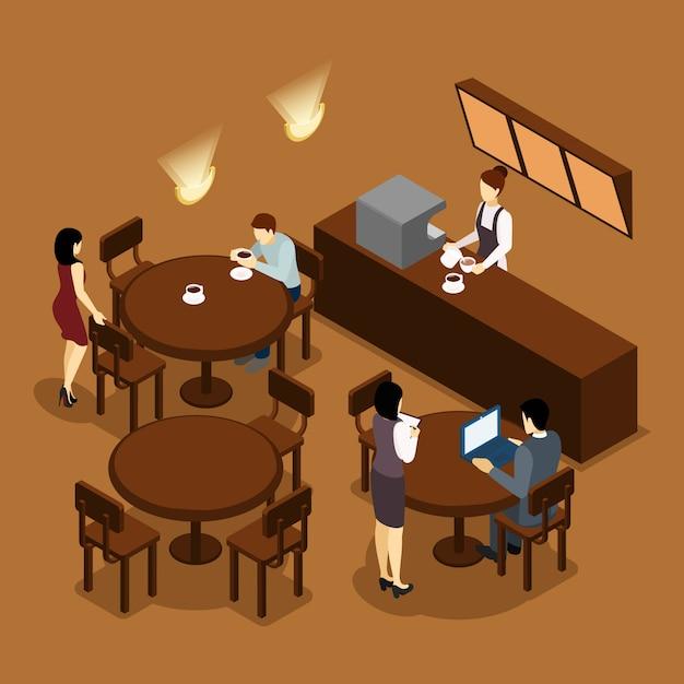 Camarera barista people isometric brown poster vector gratuito