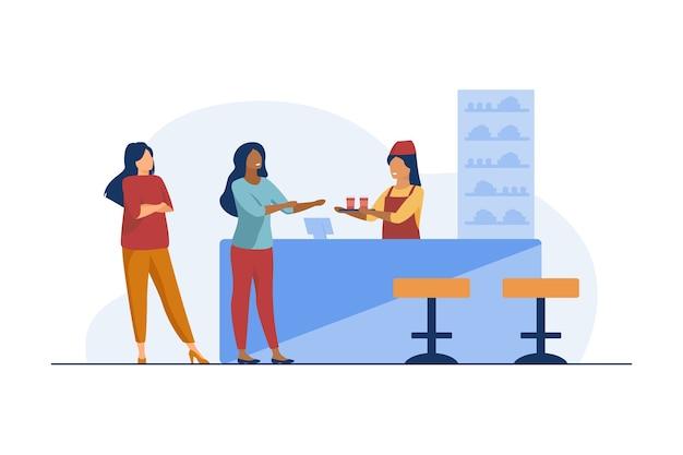 Camarera dando plato al visitante del café. bebida, bebida, merienda. ilustración plana. vector gratuito