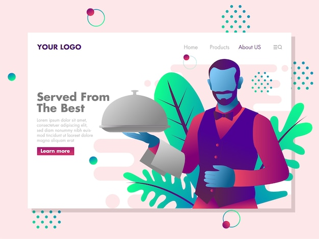 Los camareros traen una ilustración de la bandeja de comida para la página de destino Vector Premium
